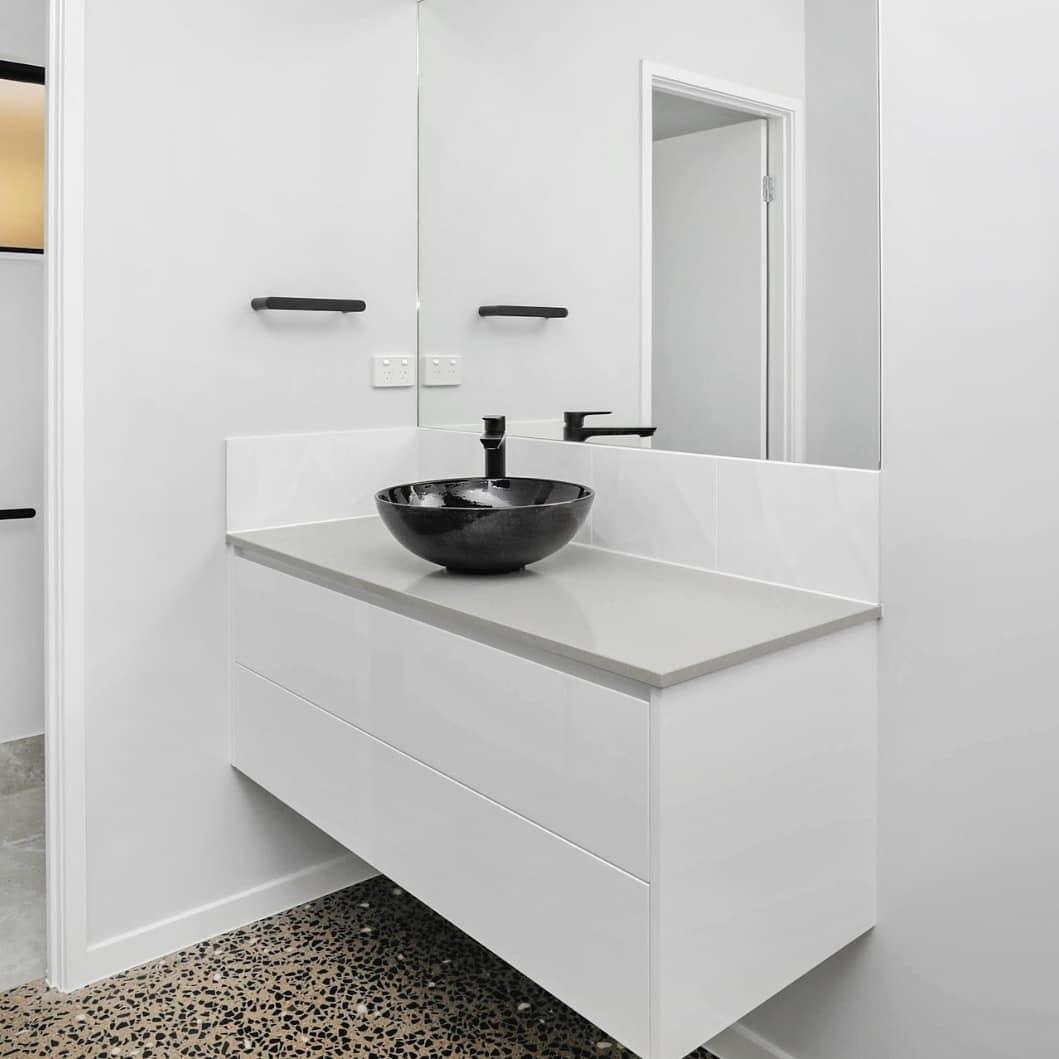 black concrete hand basin