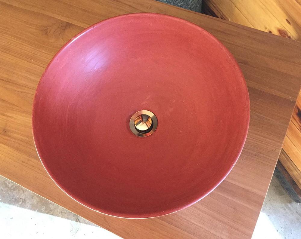 concrete hand basin bathroom basin red