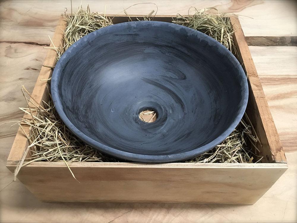 Blue grey Round Bathroom Basin Rustic, hand basin, wash basin, concrete