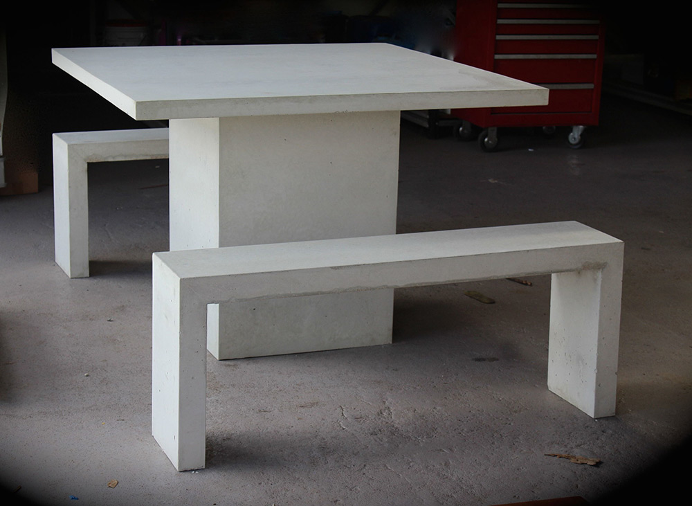 outdoor concrete table and bench seats