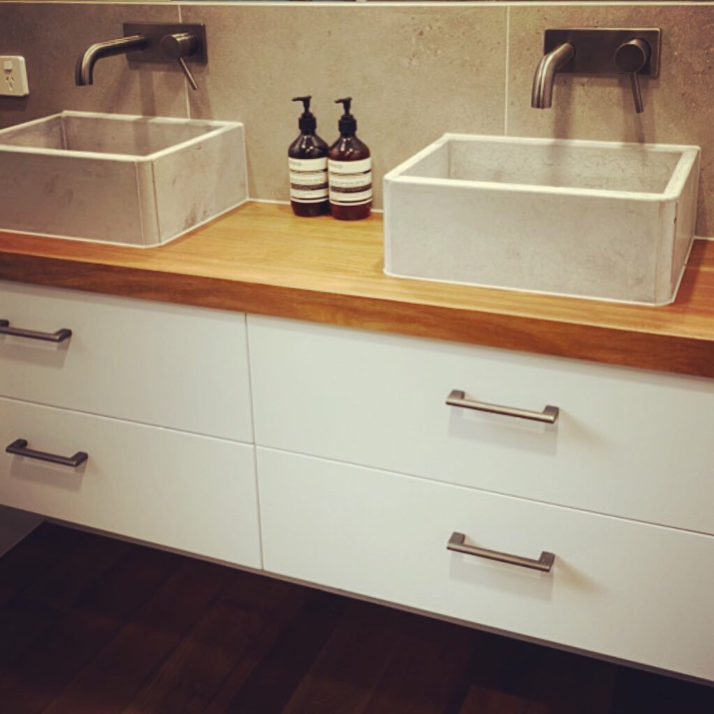 Twin concrete vanity, sink, basin